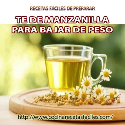 Receta de té de manzanilla para bajar de peso, tiene un efecto diurético, por lo que nos ayudará a eliminar el exceso de líquido en el que caso de que suframos retención.