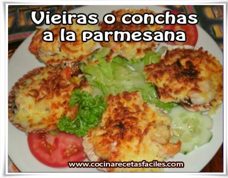 Recetas de pescados y mariscos , receta de vieiras o conchas  a la parmesana
