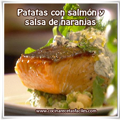 Recetas de  Pescados y mariscos, receta de patatas con salmón y salsa de naranjas