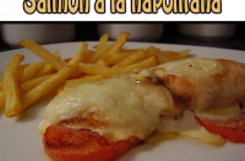 Receta de filete Salmón a la napolitana con tomate y queso al horno