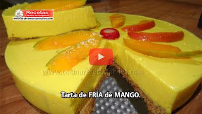 Una tarta con una combinación de sabores de esta exquisita fruta, el mango, el toque suave de la crema y el crujiente de la galleta.