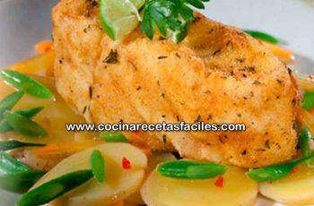 Corvina apanada con ensalada de papas - Recetas de pescados