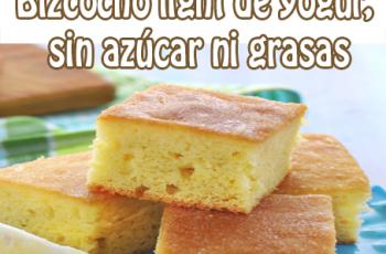Bizcocho light de yogur, sin azúcar ni grasas - Recetas de tortas y pasteles