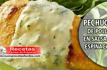 Pechuga de pollo con salsa de espinacas - Recetas de pollo