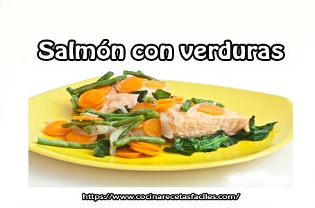 salmón,calabacín,zanahoria, espinacas, judías