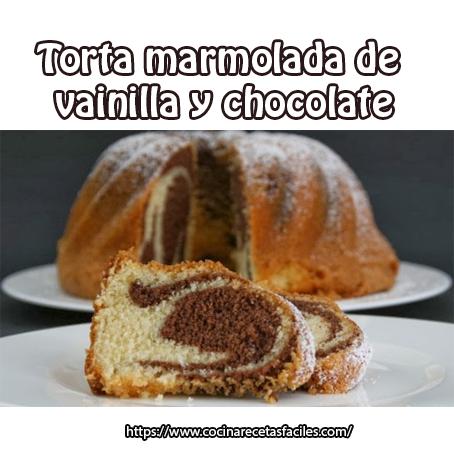 Torta marmolada de vainilla y chocolate