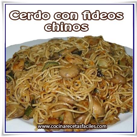 Cerdo con fideos chinos - Cocina Recetas Fáciles