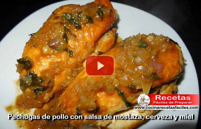 Pechugas de pollo con salsa de cerveza, mostaza y miel (Vídeo)