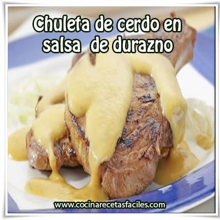 Recetas de carnes , receta de chuleta de cerdo en salsa de durazno