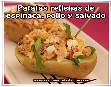 Recetas para adelgazar , recetas para bajar el colesterol, patatas rellenas de  espinaca, pollo y salvado