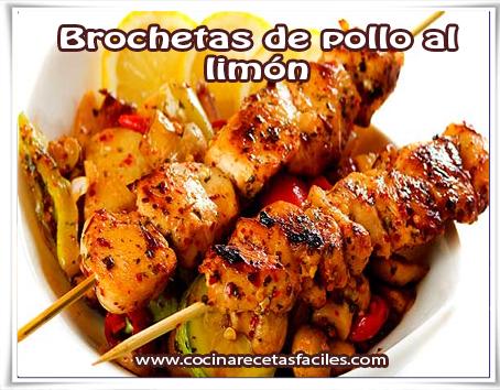 Recetas de pollo , brochetas de pollo al limón