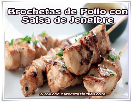 Recetas de pollo , brochetas de pollo con salsa de jengibre