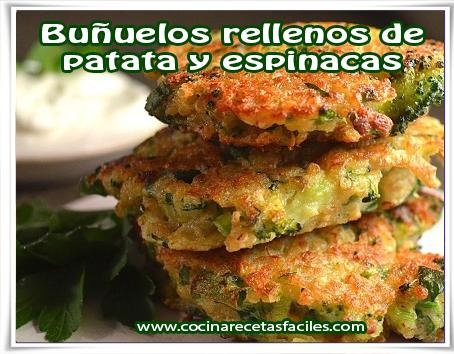 Recetas vegetarianas, buñuelos rellenos de patata y espinacas