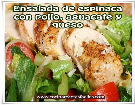 Recetas de ensaladas , ensalada de espinaca con pollo, aguacate y queso