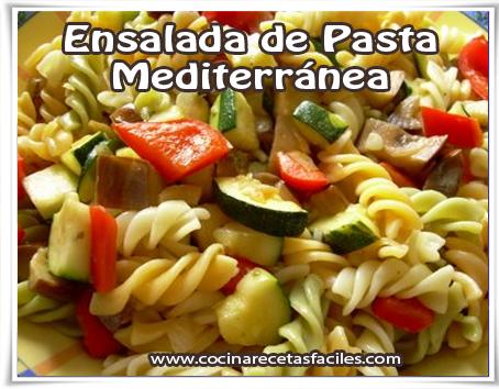 Recetas de pastas , ensalada de pasta mediterránea