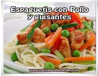 Recetas de pastas , receta de espaguetis con Pollo y guisantes