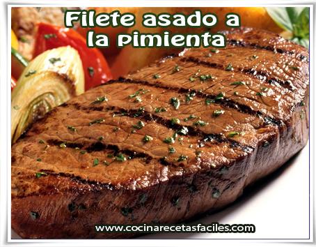 Recetas de carnes , filete a la pimienta , filete , filete asado , bistec asado
