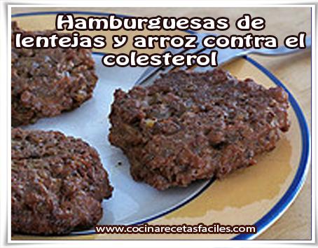 Recetas vegetarianas , hamburguesas de  lentejas y arroz contra el colesterol