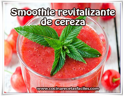 Receta de smoothie revitalizante de cereza✅Siéntete renovado y lleno de energía con este suculento, ligero y saludable smoothie revitalizante sabor a cereza