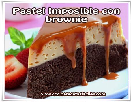 Postres y helados , pastel imposible con brownie
