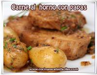 Recetas de carnes, carne al horno con papas