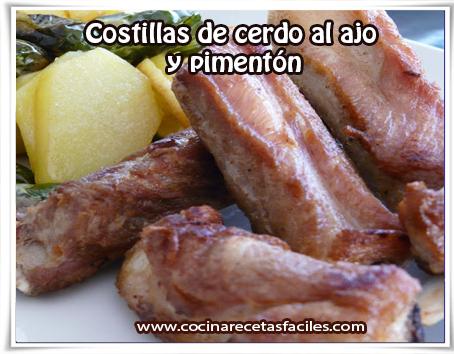 Recetas de carnes, costillas de cerdo al ajo y pimentón