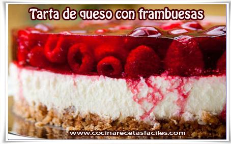 Recetas de postres y helados, tarta de queso con frambuesas