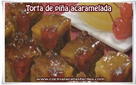 Recetas de tortas y pasteles, torta de piña acaramelada