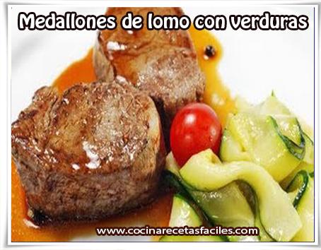 Recetas de carnes, medallones de lomo con verduras