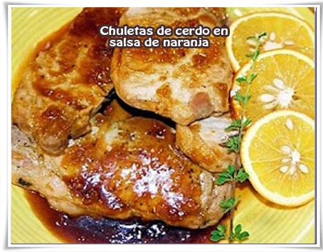 Recetas de carnes,  cerdo, naranja