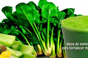 Receta de agua de espinacas para fortalecer músculos