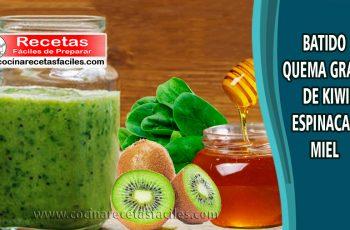 Batido quema grasa de kiwi espinaca y miel