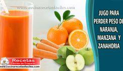 Jugo para perder peso de naranja, manzana y zanahoria