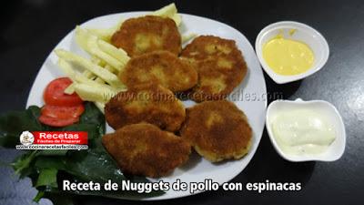 Receta de Nuggets de pollo con espinacas, esta receta es deliciosa y muy fácil de hacer e ideal para que los niños coman espinaca.