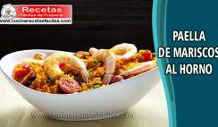 Paella de mariscos al horno - Recetas de pescados y mariscos