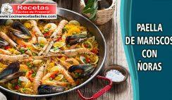 Paella de mariscos con ñoras - Recetas de pescados y mariscos