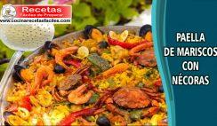 Paella de mariscos con nécoras - Recetas de pescados y mariscos