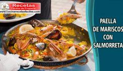 Paella de mariscos con salmorreta - Recetas de pescado y mariscos